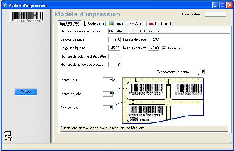 Imprimer facilement des étiquettes code barre  capture d`écran